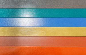 Rows of powder coated paneling in a spectrum of colors.