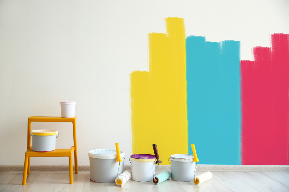 Colorful paint on home walls
